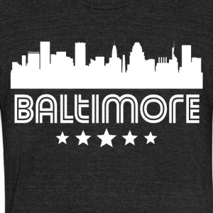 Retro Baltimore Skyline - Unisex Tri-Blend T-Shirt by American Apparel
