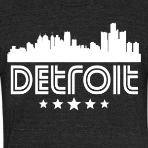Retro Detroit Skyline - Unisex Tri-Blend T-Shirt by American Apparel