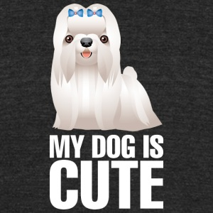 My_dog_is_cute_11_white - Unisex Tri-Blend T-Shirt by American Apparel