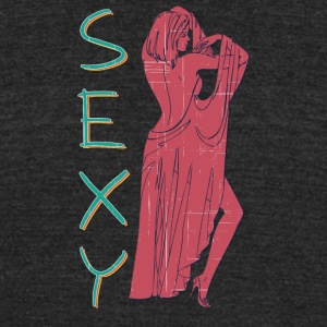 PINUP_GIRL_SEXY_GIRL_WITH_OPEN_BACK_vintage - Unisex Tri-Blend T-Shirt by American Apparel