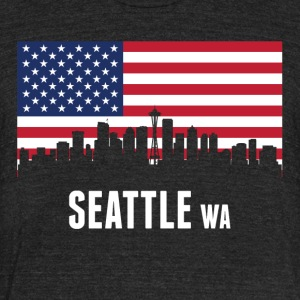 American Flag Seattle Skyline - Unisex Tri-Blend T-Shirt by American Apparel