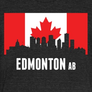 Canadian Flag Edmonton Skyline - Unisex Tri-Blend T-Shirt by American Apparel