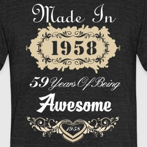Made in 1958 59 years of being awesome - Unisex Tri-Blend T-Shirt by American Apparel