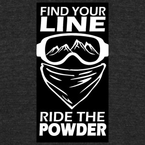 find your line ride the powder black - Unisex Tri-Blend T-Shirt by American Apparel