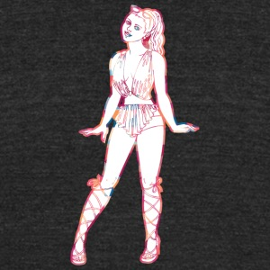 cute_pin_up_disco_girl - Unisex Tri-Blend T-Shirt by American Apparel