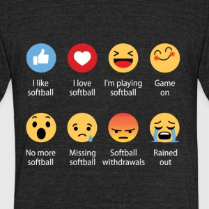 Softball emojication funny - Unisex Tri-Blend T-Shirt by American Apparel