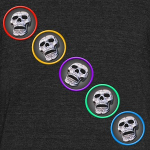 five skulls diagonal - Unisex Tri-Blend T-Shirt by American Apparel