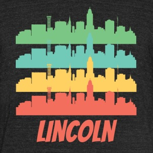 Retro Lincoln NE Skyline Pop Art - Unisex Tri-Blend T-Shirt by American Apparel