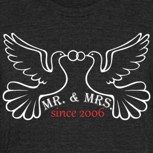 Mr And Mrs Since 2006 Married Marriage Engagement - Unisex Tri-Blend T-Shirt by American Apparel