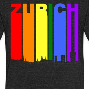 Zurich Switzerland Skyline Rainbow LGBT Gay Pride - Unisex Tri-Blend T-Shirt by American Apparel
