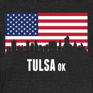 American Flag Tulsa Skyline - Unisex Tri-Blend T-Shirt by American Apparel