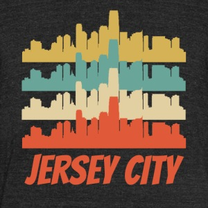Retro Jersey City NJ Skyline Pop Art - Unisex Tri-Blend T-Shirt by American Apparel