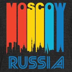 Retro Moscow Skyline - Unisex Tri-Blend T-Shirt by American Apparel