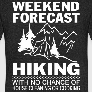 Weekend Forecast Hiking T Shirt - Unisex Tri-Blend T-Shirt by American Apparel