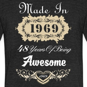 Made in 1969 48 years of being awesome - Unisex Tri-Blend T-Shirt by American Apparel