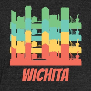 Retro Wichita KS Skyline Pop Art - Unisex Tri-Blend T-Shirt by American Apparel