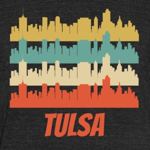 Retro Tulsa OK Skyline Pop Art - Unisex Tri-Blend T-Shirt by American Apparel