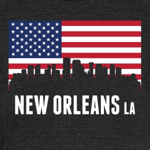 American Flag New Orleans Skyline - Unisex Tri-Blend T-Shirt by American Apparel