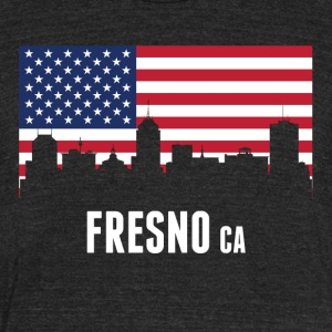 American Flag Fresno Skyline - Unisex Tri-Blend T-Shirt by American Apparel