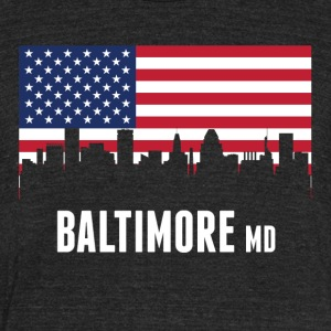 American Flag Baltimore Skyline - Unisex Tri-Blend T-Shirt by American Apparel