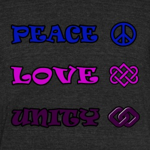 Peace, Love, Unity - Unisex Tri-Blend T-Shirt by American Apparel