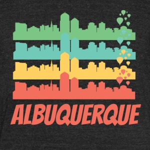 Retro Albuquerque NM Skyline Pop Art - Unisex Tri-Blend T-Shirt by American Apparel