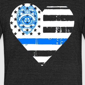 Police Thin Blue Line T shirts - Unisex Tri-Blend T-Shirt by American Apparel