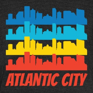 Retro Atlantic City NJ Skyline Pop Art - Unisex Tri-Blend T-Shirt by American Apparel