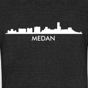 Medan Indonesia Skyline - Unisex Tri-Blend T-Shirt by American Apparel