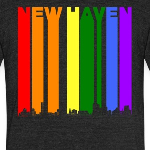 New Haven Skyline Rainbow LGBT Gay Pride - Unisex Tri-Blend T-Shirt by American Apparel