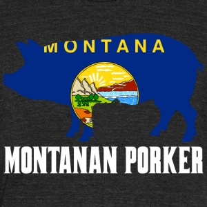 Montanan Porker State Flag Pig Pork BBQ - Unisex Tri-Blend T-Shirt by American Apparel