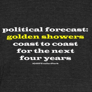 Political forecast: Golden Showers - Unisex Tri-Blend T-Shirt by American Apparel