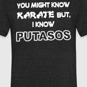 You May Know Karate But I Know PUTASOS - Unisex Tri-Blend T-Shirt by American Apparel