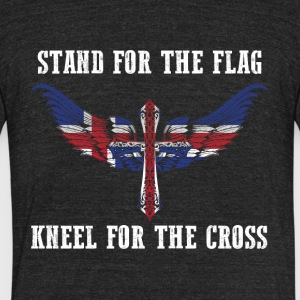 Stand for the flag Iceland kneel for the cross - Unisex Tri-Blend T-Shirt by American Apparel