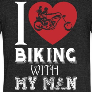 I Love Biking with My Man T Shirt - Unisex Tri-Blend T-Shirt by American Apparel