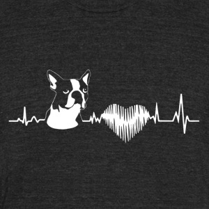 Boston Terrier Heartbeat Shirt - Unisex Tri-Blend T-Shirt by American Apparel