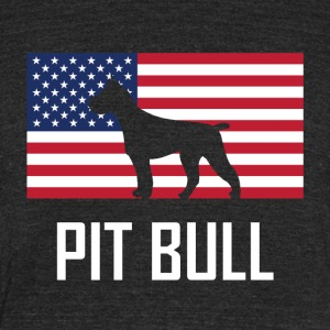 Pit Bull American Flag - Unisex Tri-Blend T-Shirt by American Apparel