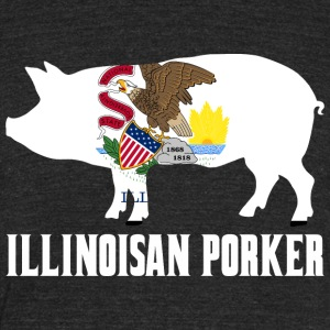 Illinoisan Porker State Flag Pig Pork BBQ - Unisex Tri-Blend T-Shirt by American Apparel