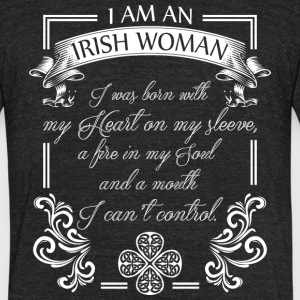 An Irish Woman I Was Born With My Heart T Shirt - Unisex Tri-Blend T-Shirt by American Apparel