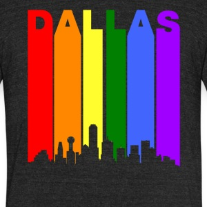 Dallas Texas Rainbow Skyline LGBT Gay Pride - Unisex Tri-Blend T-Shirt by American Apparel