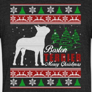 Boston Terrier Christmas Shirt - Unisex Tri-Blend T-Shirt by American Apparel