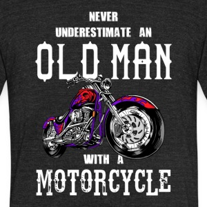Never Underestimate an Old Man Motorcycle - Unisex Tri-Blend T-Shirt by American Apparel