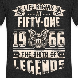 Life Begins at Fifty-One Legends 1966 for 2017 - Unisex Tri-Blend T-Shirt by American Apparel