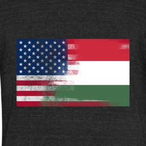 Hungarian American Half Hungary Half America Flag - Unisex Tri-Blend T-Shirt by American Apparel