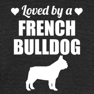 Loved By A French Bulldog - Unisex Tri-Blend T-Shirt by American Apparel