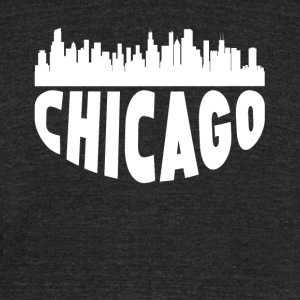 Chicago IL Cityscape Skyline - Unisex Tri-Blend T-Shirt by American Apparel