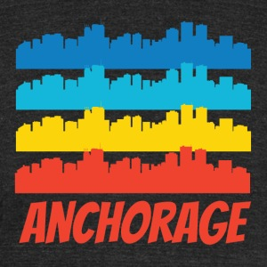 Retro Anchorage AK Skyline Pop Art - Unisex Tri-Blend T-Shirt by American Apparel