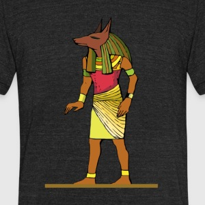Ancient Egyptian Painting - Anubis, the Wolf God - Unisex Tri-Blend T-Shirt by American Apparel