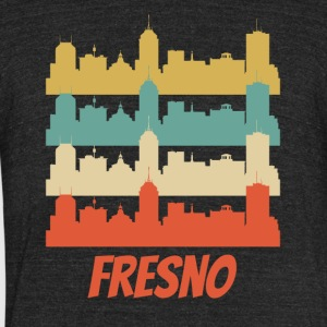 Retro Fresno CA Skyline Pop Art - Unisex Tri-Blend T-Shirt by American Apparel