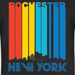 Retro Rochester New York Skyline - Unisex Tri-Blend T-Shirt by American Apparel